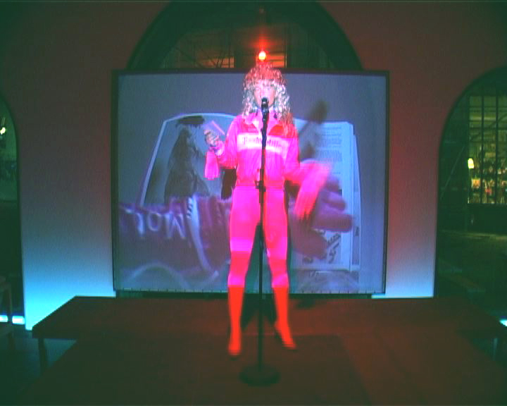 "FRAU BERLIN FREIER,  2005, Performance, Videostill, Exhibition Opening ""Great Value"", Presentation of  ""Freier Ausgabe 4"", Kunstverein Frankfurt"