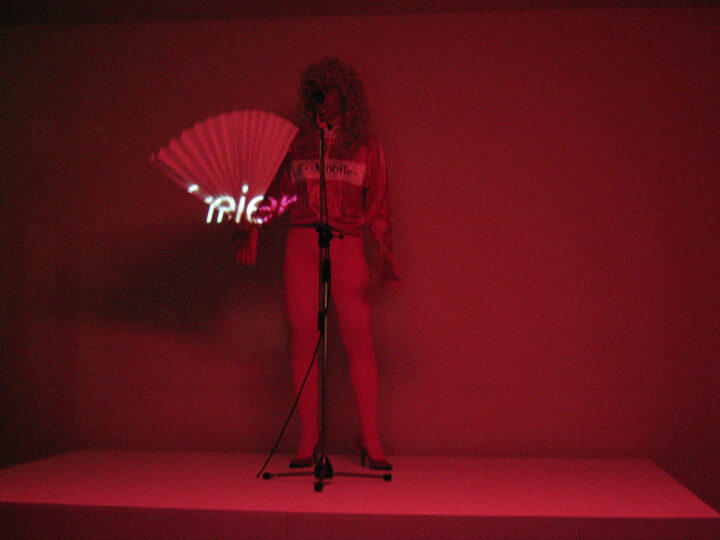 "FRAU BERLIN FREIER,  2005, Performance, Videostill, Presentation of  ""Freier Ausgabe 4"" / ""Erntedankfest"", Salon des Amateurs, Düsseldorf"